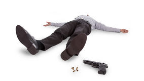 Businessman lying dead in the floor Stock Images