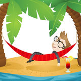 Businessman lying in hammock (close-up). Vector illustration of a cartoon businessman sleeping in a hammock on the beach of an island with a cocktail next to him Stock Photo