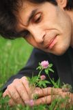 Businessman lying looks at clover flower Royalty Free Stock Image