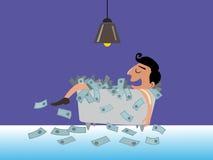 Businessman lying on money Stock Photos