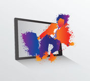 Businessman made of paint leaping from tablet Stock Photo