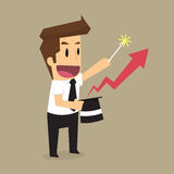 Businessman magical Arrow graph to a higher level Stock Image