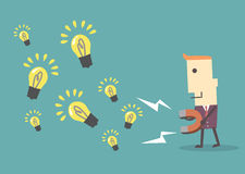 Businessman with  magnet collecting light bulb , eps10 vector fi Stock Images