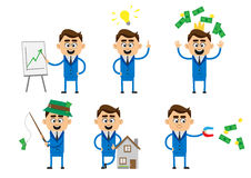 Businessman with magnet and Gold coin and money. illustration in flat Stock Image