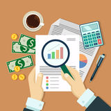 Businessman with magnifier analysis paper. Vector image. Flat design. businessman with magnifier analysis paper, money, calculator, auditing tax, financial Royalty Free Stock Image