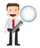 Businessman with magnifying glass Stock Photo