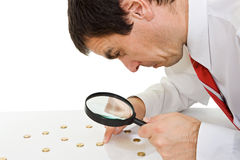 Businessman with magnifying glass Royalty Free Stock Photo