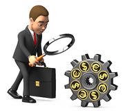 Businessman with a magnifying glass considers gear. 3d businessman with a magnifying glass considers gear Royalty Free Stock Photo