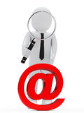 Businessman magnifying glass email Stock Image