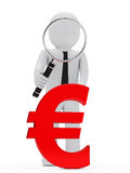 Businessman magnifying glass euro. Businessman look with magnifying glass red euro Royalty Free Stock Photo
