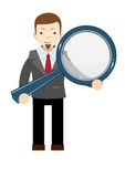 Businessman with a magnifying glass in his hands vector illustration