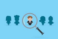 Businessman and magnifying glass, human resource and recruitment concept. Vector, illustration Stock Photos