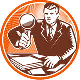 Businessman Magnifying Glass Looking Documents Stock Image