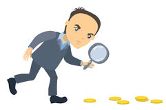 Businessman with magnifying glass looking for money Royalty Free Stock Photography