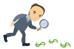 Businessman with magnifying glass looking for money Stock Photos