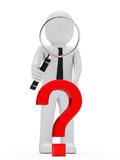 Businessman magnifying glass question mark Stock Photos