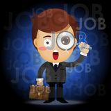Businessman with magnifying glass searching for job Stock Images