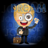 Businessman with magnifying glass searching for job Royalty Free Stock Images