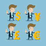 Businessman with major currency symbols Stock Images
