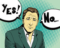 Free Businessman Make Choice Yes Or Not. Retro Comic Pop Art Style Vector Illustration Royalty Free Stock Photos - 71803178