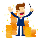Businessman Make Gold Coins Appear With Magic Wand. Vector stock of a businessman holding magic wand surrounded with lot's of gold coins Royalty Free Stock Photography