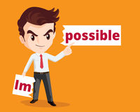 Businessman make possible. Vector business concept of Businessman make possible by tear from the word impossible Royalty Free Stock Photos