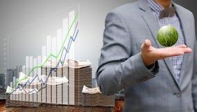 Businessman make profit from growth of wind farm stock illustration