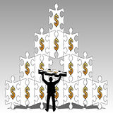 Businessman make pyramid from puzzle Royalty Free Stock Images