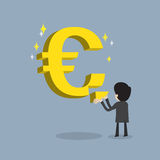 Businessman make strong business or get  return on. Businessman make strong business by  fulfill  Euro currency sign as stable about his money , cartoon vector Royalty Free Stock Image