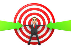 Businessman makes the arrows hit the target. 3D businessman makes the arrows hit the target Royalty Free Stock Photo