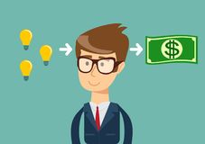 Man make money from idea. Businessman makes money from idea.concept. Stock flat vector illustration Royalty Free Stock Image