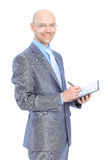 Businessman makes a record. Royalty Free Stock Images