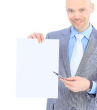Businessman makes a record. Royalty Free Stock Photo