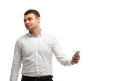 Businessman makes selfie using phone Royalty Free Stock Image