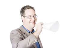 Businessman making announcement Royalty Free Stock Photography