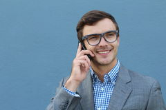 Businessman making a call outside Royalty Free Stock Photos