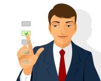 Businessman making a choice. Vector illustration of a businessman making a choice Royalty Free Stock Photo