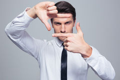 Businessman making frame gesture Royalty Free Stock Photos