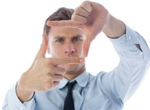 Businessman making frame with hands Royalty Free Stock Images