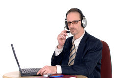 Businessman making internet conference call Royalty Free Stock Photo
