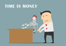 Businessman is making money from a clock Royalty Free Stock Photography