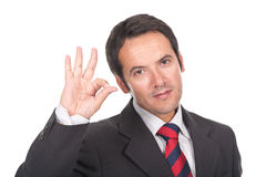 Businessman making ok sign Royalty Free Stock Images
