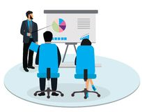 Businessman making presentation on conference. Vector illustration in flat style