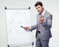 Businessman making presentation on flipchart Stock Photography