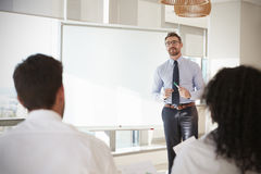 Businessman Making Presentation To Colleagues In Office stock image
