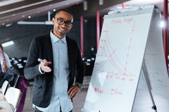 Businessman making presentation using flipchart in the office Royalty Free Stock Photo