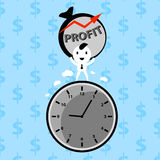 Businessman making profit. On time financial vector concept Stock Image