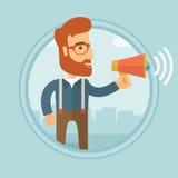 Businessman making public announcement. Stock Image
