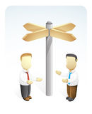 Businessman is Making Solution. Vector Illustration of two businessmen making solution to solve the problems. they are standing near the direction way Royalty Free Stock Photos