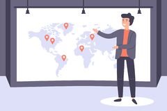 Businessman making speech at stage, geo tag on world map. vector illustration